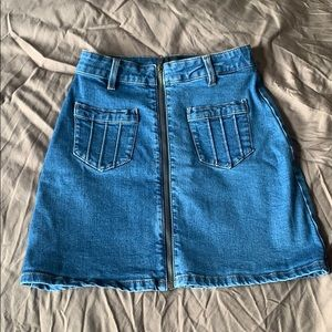 MINKPINK Denim Skirt with Zipper